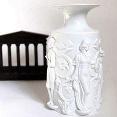 Art Deco White Figural Bisque Vase Vintage Home Decor Royal Tettau Table Vase Accessories Collectibles High-Relief German Art Pottery