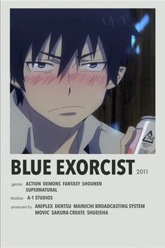 Blue Exorcist minimalist anime poster Blue Exorcist, Anime Nerd, Anime Manga, Anime Reccomendations, Best Anime Shows, Japanese Poster Design, Film Poster Design, Anime Pixel Art, Manga Covers