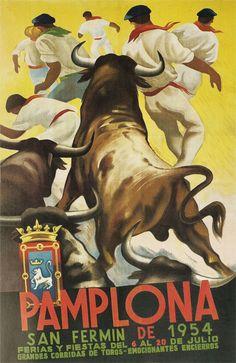 Pamplona Bull Fighting 1954 Travel Art Poster Print in Art, Posters, Contemporary San Fermin Pamplona, Pamplona Spain, Paris France, Charles Dana Gibson, Pop Art, Running Of The Bulls, Flamenco Dancers, Poster Ads, Illustrations