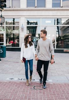 Casual date night look with denim and light sweaters