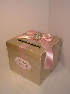 Wedding /Quinceañera/Sweet 16 Card Box Champagne and Blush pink/light pink Gift Card Box Money Box Holder-Customize your color – quinceanera Quince Decorations, Quinceanera Decorations, Quinceanera Party, Wedding Decorations, Quinceanera Dresses, Sweet 16 Birthday, 15th Birthday, Birthday Box, Birthday Cards