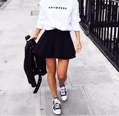 Outfits that will give them pure envy. Amazing style skater skirt outfits ideas - Outfits that will give them pure envy. Amazing style skater skirt outfits ideas You are in the right - Mode Outfits, Casual Outfits, Summer Outfits, Fashion Outfits, Fashion Mode, Urban Fashion, Womens Fashion, 90s Fashion, Minimal Fashion