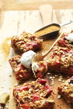 10-ingredient Strawberry Crumble Rhubarb Bars! #Vegan #Glutenfree #rhubarb #dessert #recipe #bars #minimalistbaker