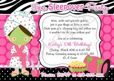 Perfect sleeping bag invitation for a sleepover party change the sleepover spa party invitation invite spa sleepover birthday party printable spa day sleepover party choose your girl filmwisefo