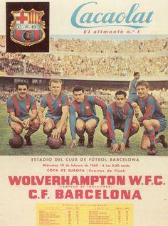 CACAOLAT y la delantera del C.F. Barcelona Villaverde, Kubala, E.Martinez, Suarez, Czibor