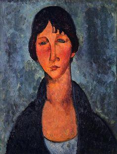 Amedeo Modigliani. La blusa azul, 1917. Óleo sobre lienzo. Colección privada. WikiPaintings.org - the encyclopedia of painting