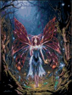 Fire Angel Cross Stitch Printable Needlework Pattern - DIY Crossstitch Chart, Relaxing Hobby, Instant Download PDF Design