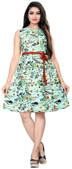 torquise American Crepe Floral Print Partywear Fit & Flair Skater Western Dress / frock for women or Girl Western Dresses For Women, Frock For Women, Red Colour Dress, Lovely Dresses, Clothes For Women, Kurti, Magenta, Aqua, Crepe Fabric