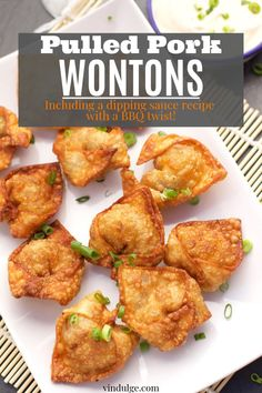 These pulled pork wontons are a great way to use leftover smoked pulled pork. They make a great appetizer or light dinner. Includes a recipe for a wonton dipping sauce with a bbq twist, and wine pairings! Pork Wonton Recipe, Wonton Recipes, Appetizer Recipes, Dinner Recipes, Wonton Appetizers, Great Appetizers, Italian Appetizers, Smoked Pulled Pork, Pulled Pork Recipes
