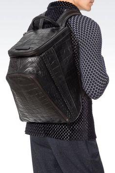 CROC PRINT CALFSKIN BACKPACK : Backpacks Men by Armani - 2
