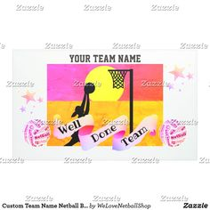 Shop Custom Team Name Netball Banner created by WeLoveNetballShop. Netball, Team Names, Banner, Party Ideas, Diy, Picture Banner, Do It Yourself, Basketball, Bricolage