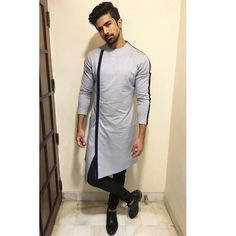 Grey Side Cut Kurta With Black Stripe. Price - Rs. 4999  #fashiondiaries #fashion #fashionblogger #lifestyle #lifestyleblogger #latest #menshair #menstuff #mens #mensuit #mensfashion #menswear #menwithstyles #menskurta #menstyle #styleoftheday #style Mens Indian Wear, Indian Men Fashion, Mens Fashion Wear, Mens Ethnic Wear, Women's Fashion, Gents Kurta Design, Boys Kurta Design, Kurta Pajama Men, Kurta Men