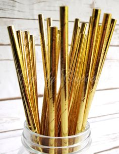 A personal favourite from my Etsy shop https://www.etsy.com/uk/listing/268703103/solid-gold-metallic-25-paper-straws