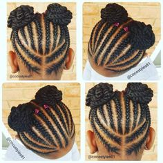 "Hair Styles For Kids 60 Unbelievable cornrow styles for girls that'll make you ask ""But How""? Childrens Hairstyles, Lil Girl Hairstyles, Black Kids Hairstyles, Natural Hairstyles For Kids, Kids Braided Hairstyles, My Hairstyle, Natural Hair Styles, Teenage Hairstyles, 1950s Hairstyles"