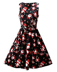 IHOT Sleeveless Summer Women o-neck christmas Santa Claus Print vestidos pin up rockabilly ladies casual vintage style dresses Fit And Flare Cocktail Dress, Black Cocktail Dress, Flare Dress, Dress Black, Cocktail Dresses, Christmas Dress Women, Christmas Fashion, Christmas Gifts, Womens Christmas