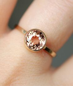 Padparadscha Tourmaline In 14K Gold Ring