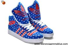 brand new 7b28c 5ec53 Latest Listing Adidas X Jeremy Scott American Flag Big Tongue Shoes Blue  Shoes Shop Blue Shoes