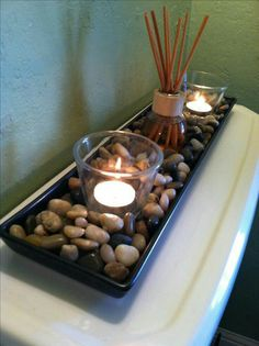 Cheap rocks from IKEA, a couple candles and a scented oil reed diffuser - cheap . - Cheap rocks from IKEA, a couple candles and a scented oil reed diffuser – cheap and easy (and yum - Decoration Bedroom, Bath Decor, Restroom Decoration, Apartment Bedroom Decor, Apartment Living, Diy Bedroom, Apartment Ideas, Apartment Furniture, Trendy Bedroom