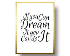 Walt Disney Quote poster ,If you can dream it, Motivational wall decor, ptintable art, disney typography