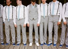 groomsmen with their colors to match the brides maid dresses :) with kaki gray suit and suspenders, groom must wear vest and white shoes Wedding Groom, Wedding Suits, Wedding Attire, Casual Wedding, Wedding Vest, Relaxed Wedding, Chic Wedding, Wedding Blog, Groom Wear