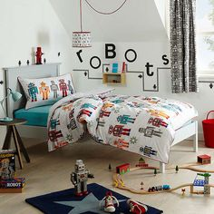 Buylittle home at John Lewis Robots Duvet Cover and Pillowcase Set, Single Online at johnlewis.com