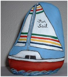 """Hudson Bay Blanket Stripes door stop painted rock with our sailboat name on it! """"Fur Sail"""""""