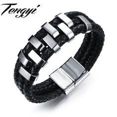 Sporty Men Black Multilayer Leather Bracelet Stainless Steel Magnetic Clasp Wristband Man Vintage Bracelets 17MM Wide TY1018