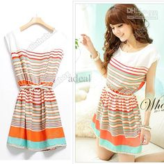 Dress Styles For Women New Colorful Stripes Party Mini Dress Clubwear Free Bowknot Belt Womens Dresses Adeal #2691 Sundresses Sale From Adeal, $7.98| Dhgate.Com