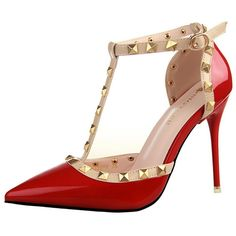 Buy Hot Sales European Style All Match Rivet Pointed Pumps Red with... via Polyvore