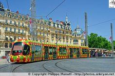 Ligne 2 du tramway, Place de la Comédie. Montpellier (France / Languedoc-Roussillon-Midi-Pyrénées / Hérault)