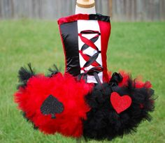 Custom Red Queen of Hearts tutu dress corset costume set made to fit in a size 10 12 14 16 tween girls. $149.00, via Etsy.