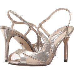 Nina Renee (Taupe/Champagne) High Heels ($89) ❤ liked on Polyvore featuring shoes, sandals, nina sandals, leather sole shoes, sling back shoes, sling back sandals and slingback shoes