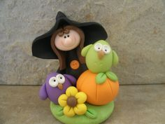 Halloween Witch and Owls by countrycupboardclay on Etsy