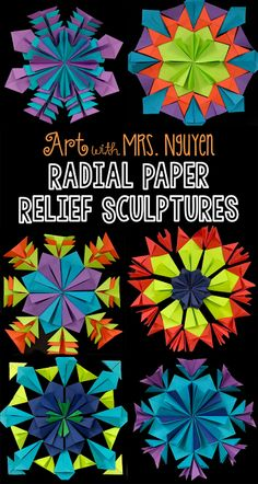 Radial Paper Relief Sculptures, page also has video demonstrating hat, kite, and samurai folds