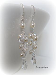 Wedding Earrings Long Pearl Crystal Earrings Bridal by Element4you, $30.00