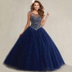 Cheap navy blue quinceanera dresses, Buy Quality blue quinceanera directly from China quinceanera dresses Suppliers: Masquerade Bal Ball Gowns Puffy Sweet 16 Navy Blue Quinceanera Dresses 2017 Pearls Cap Sleeves Sparkly Luxury Crystals Plus Size