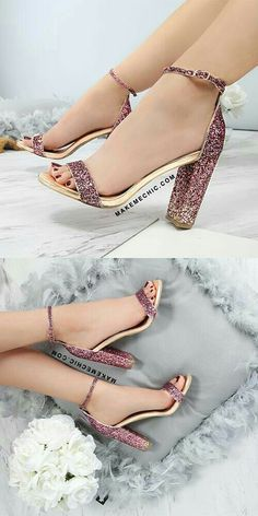 Ombre Glitter Chunky Heels MULTI # Outfits mujer How to make glitter shoes! - A Beautiful Mess Fancy Shoes, Pretty Shoes, Beautiful Shoes, Cute Shoes, Me Too Shoes, Beautiful Mess, Stilettos, Stiletto Heels, Shoes Heels