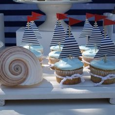 [Inspiration] Nautical Birthday Dessert Table Nautical themed boy's birthday party Baby Shower Cupcakes For Boy, 1st Birthday Cupcakes, Dessert Table Birthday, Cupcakes For Boys, Birthday Desserts, Baby Shower Themes, Dessert Tables, Dessert Ideas, Ladybug Cupcakes