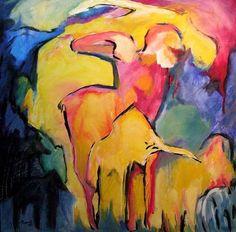 Zuschauer, Acrylic on canvas, 1 x 1 m,  #art,#kunst,#expressionism,#expressionismus,