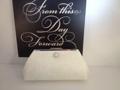 ea879650212e Ivory Lace Over Ivory Satin Clutch Purse with Pearl Rhinestone