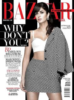 Bollywood Actress Katrina Kaif on The Cover of Harper's Bazaar Magazine for the Month of March 2013 Issue. Bollywood Girls, Bollywood Fashion, Bollywood Actress, Bollywood Heroine, Bollywood Style, Bollywood News, Celebrity Gossip, Celebrity News, Celebrity Style