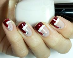 A little early, but this is great!!  Santa Hat French Manicure Nail Art