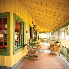 15 Idea-Filled Patios Color It Coastal Brightly colored porches make cheerful retreats even on overcast afternoons. Paint your porch ceiling a summery hue to add punch. Outdoor Rooms, Outdoor Living, Outdoor Decor, Gazebo, Pergola, Home Porch, Coastal Colors, D House, Decks And Porches