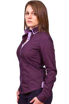 Купить Фиолетовая рубашка с двойным воротником недорого в Москве