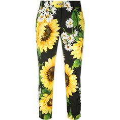 Dolce & Gabbana sunflower cropped trousers ($730) ❤ liked on Polyvore featuring pants, capris, black, zipper pants, dolce gabbana pants, floral pants, floral trousers and flower print pants