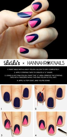 Mani Monday: Hot Pink and Navy Blue Chevron Nail Tutorial at LuLus.com!