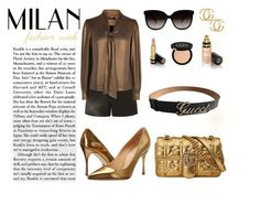 """""""GucciGold GG"""" by moumantai13 ❤ liked on Polyvore featuring Gucci, Sergio Rossi and Karen Millen"""
