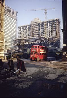 Portland and Chorlton Streets and the towering construction at Piccadilly Plaza, Manchester, United Kingdom, 1964, photograph by Visual Resources at MMU (photographer unattributed).