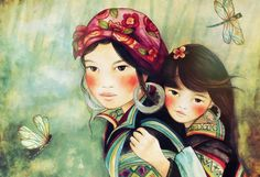 Mother and daughter hmong people ~ Claudia Tremblay ~
