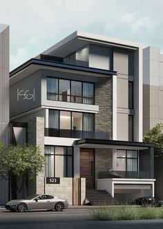 modern house design tips and features Modern House Facades, Modern Exterior House Designs, Modern House Plans, Modern House Design, Exterior Design, 3 Storey House Design, Bungalow House Design, Residential Building Design, Home Building Design